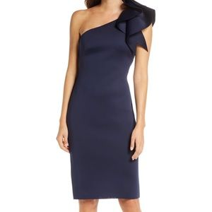 One-Shoulder Ruffle Sheath Cocktail Dress